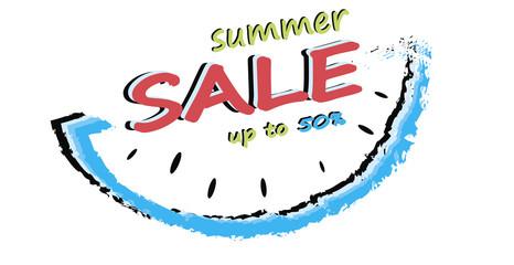 Summer sale banner isolated on white background. Summer offer. Summer sale. Design for banner, flyer, invitation, poster, web site or greeting card - vector illustration