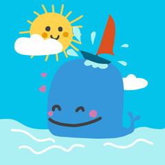Cute blue whale with boat surfing and sun smile cartoon doodle vector illustration