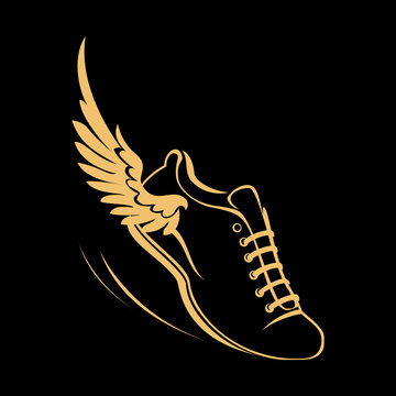 Sports shoes for running, running shoe with a wing. Graphic