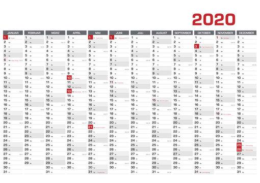 Jahresplaner DIN A1 für 2020 mit KW und Feiertagen