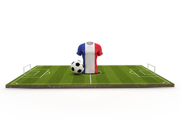 France soccer shirt national flag on a football pitch. 3D Rendering