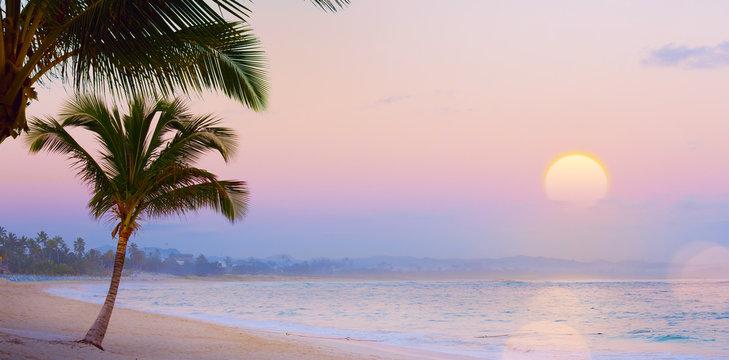 Art Summer Drims; Beautiful sunset over the tropical beach; summer dream vacation