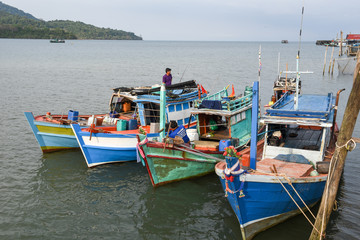 Fisherboats at Ao Yai in Koh Kood island on Thailand