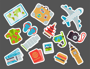 Airport travel icons flat tourism suitcase passport luggage plane transportation vector illustration.