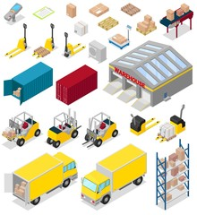 Warehouse vector distribution storage industry in industrial storehouse of warehouser illustration set of cargo bussiness delivery isolated on white background