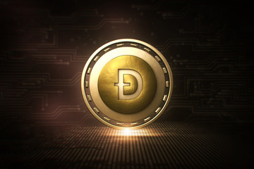 Dogecoin - DOGE - 3D Cryptocurrency Coin - Front View