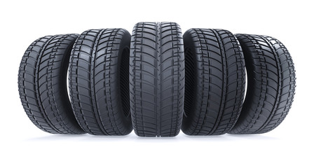 Car tires in row on white background. New black wheel tyres for car. 3d illustration