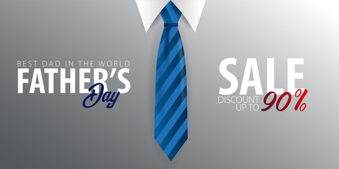 Father's Day Sale banner, greeting card with necktie. Vector Illustration