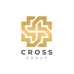 Abstract premium linear vector cross logo. Abstract geometric cross symbol. Christian cross icon. Doctor logo help icons business logo