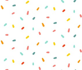 Hand drawn vector abstract graphic cartoon simple colorful confetti decoration isolated on white background