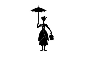Silhouette girl floats with umbrella in his hand, vector isolated or black background