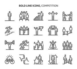 Competition, bold line icons.