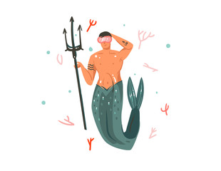 Hand drawn vector abstract cartoon graphic summer time underwater illustrations with coral reefs and swimming mermaid man character isolated on white background