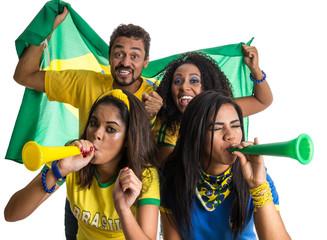 Brazilian group of fans celebrating on football match on white background.