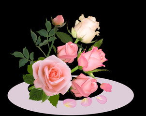 six light pink rose bouquet on black background