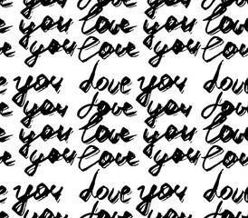 Seamless pattern with abstract handwriting modern ink text. I love you pattern . Black Ink illustration. Hand drawn brush modern calligraphy. Black and white poster with handdrawn brushpen lettering