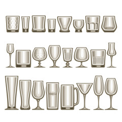 Vector set of different glassware, 24 empty glass cups various shape for alcohol drinks and cocktails, collection of grey shiny mock up icons for bar menu, transparent crockery on white background.