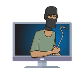 Masked burglar with a pry bar standing out from computer monitor. Robber with the puller in your computer. Internet security and hackers. Comic vector illustration. Isolated on white background.