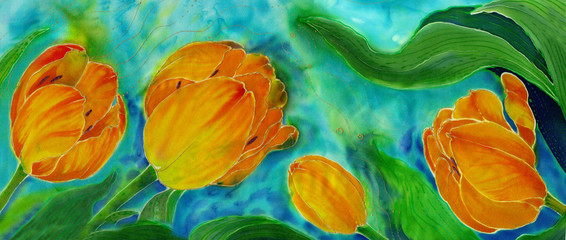 Tulips - watercolor. Spring flowers. Use printed materials, signs, items, websites, maps, posters, postcards, packaging.