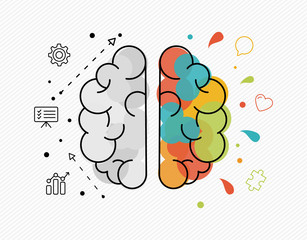 Creative and business ideas concept of human brain