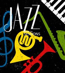 Retro Jazz Sessions poster, cover, invitation etc. template vector