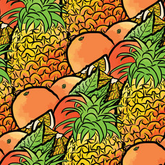 seamless pattern of pineapples and oranges