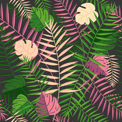 Tropical summer palm leaves retro background