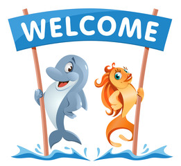 Funny dolphin and goldfish holds Welcome banner. Cartoon styled vector illustration. On white background. Elements is grouped.