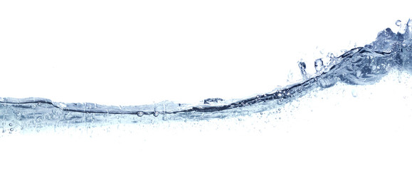 Clear wavy water isolated on white.