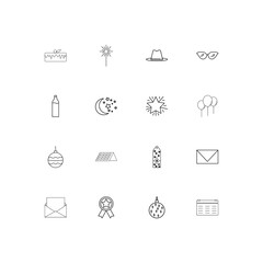 Holidays linear thin icons set. Outlined simple vector icons