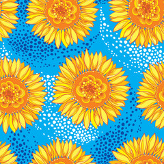 Vector seamless pattern with outline open Sunflower or Helianthus flower in yellow and orange on the blue background. Floral pattern with ornate Sunflowers in contour style for summer design.