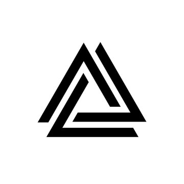 Linked triangles black and white geometric abstract logo, vector