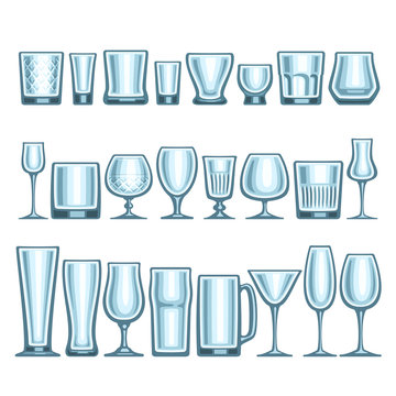Vector set of different glassware, 24 empty glass cups various shape for alcohol drinks and cocktails, collection of blue shiny mock up icons for bar menu, transparent crockery on white background.