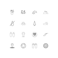 Nature linear thin icons set. Outlined simple vector icons