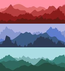 Cartoon Silhouette Color Mountains Landscape Background. Vector