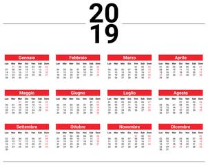 Calendario 2019 Illustrator.Calendario 2019 Buy This Stock Vector And Explore Similar