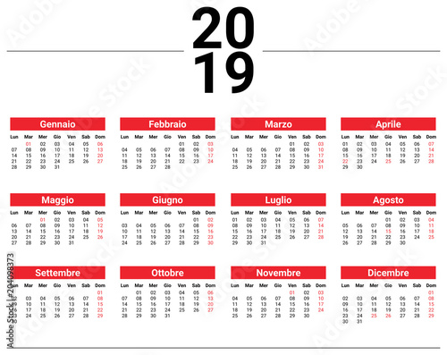 Calendario Novembre Dicembre 2019.Calendario 2019 Minimal Stock Image And Royalty Free Vector