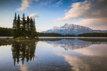 Mt Rundle at sunrise, Two Jack lake, Banff National Park, Alberta, Canada