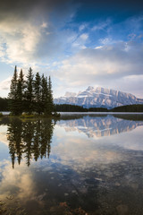 Mt Rundle at sunrise, Two Jack lake, Banff National Park, Alberta, Canada