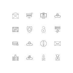 Cyber Security linear thin icons set. Outlined simple vector icons