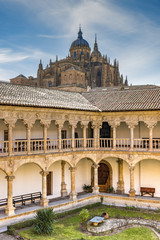 Convento de San Esteban with the Old Cathedral in the background, Salamanca, Castile and Leon, Spain