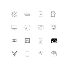 Internet Technologies linear thin icons set. Outlined simple vector icons