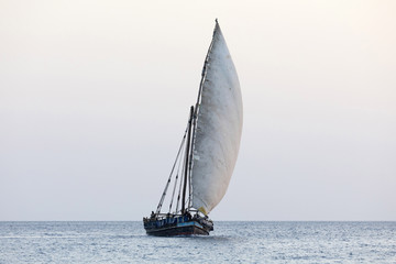 Large dhow carrying cargo, Zanzibar, Tanzania