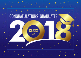 Graduating class of 2018 vector illustration. Class of 2018 design graphics for decoration with golden colored for design cards, invitations or banner
