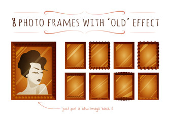 Set of cartoon flat photo frames