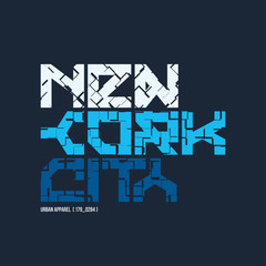 New York City styled vector t-shirt and apparel design, typograp