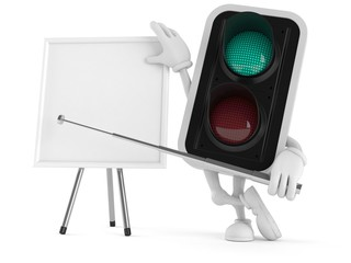 Green traffic light character with blank whiteboard