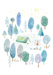 Camping in the woods.Tent, trees, bonfire, plants and moon.Landscape tourism.Watercolor hand drawn illustration.White background.