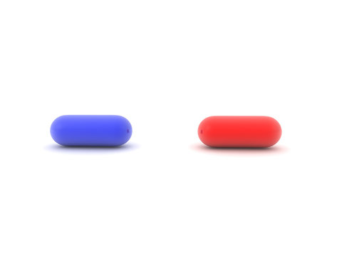 3D illustration of blue and red pill