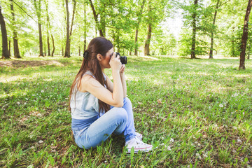 Young Woman Amateur Photographer Outdoor